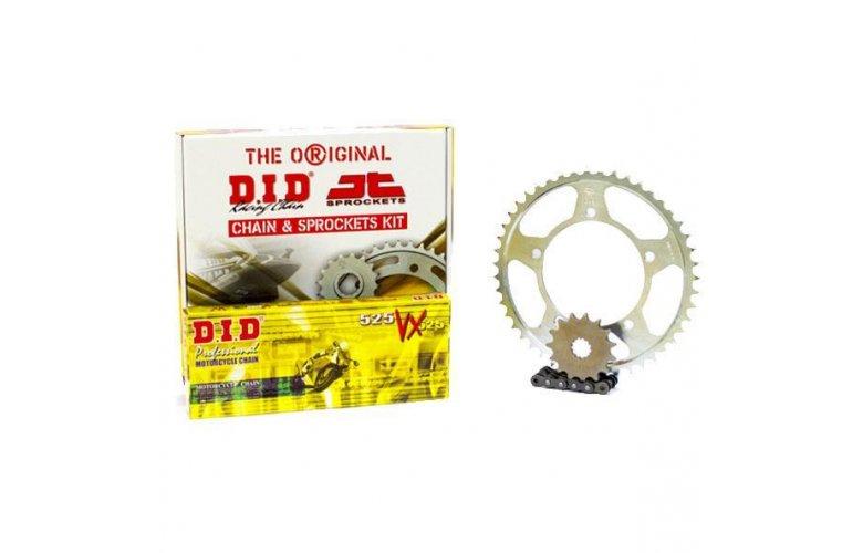 """Σετ Γρανάζια-Αλυσίδα κινήσεως DID-JT για Honda CBF 600 '08-'11 """"Μαύρη Αλυσίδα X 'ring (VX)"""""""