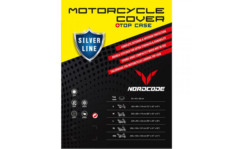 Kάλυμμα μοτό Nordcode Cover moto M Silver Line+Top Case