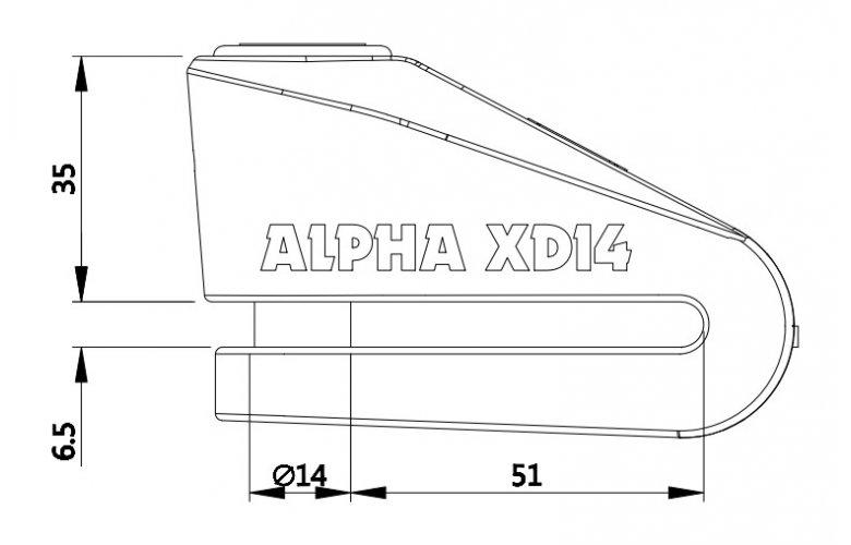 ΚΛΕΙΔΑΡΙΑ ΔΙΣΚΟΦΡΕΝΟΥ OXFORD ALPHA XD14 (14MM PIN) BLACK