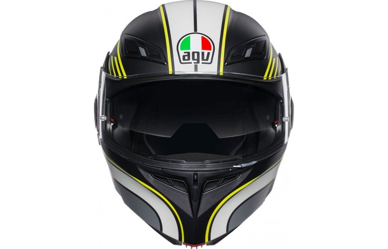 ΚΡΑΝΟΣ AGV FLIP-UP COMPACT ST MULTI BOSTON MATT BLACK/GREY/YELLOW ΜΕ PINLOCK