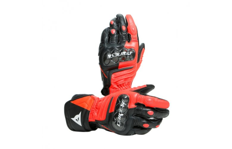 DAINESE Racing Γάντια Long Carbon 3 Short Black / Fluo Red / White