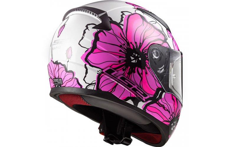 Κράνος LS2 FF353.2 Rapid Poppies Λευκό / Ροζ