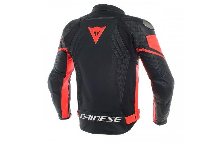 ΔΕΡΜΑΤΙΝΟ Μπουφάν Dainese Racing 3 Perforated BLACK / BLACK / FLUO-RED Μαύρο Κόκκινο