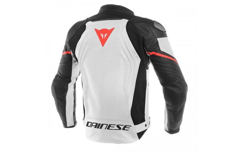 ΔΕΡΜΑΤΙΝΟ Μπουφάν Dainese Racing 3 Perforated WHITE / BLACK / RED Άσπρο Μαύρο ΚΟΚΚΙΝΟ