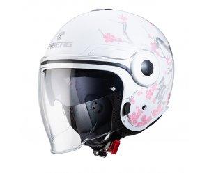Κράνος Caberg Uptown Bloom άσπρο- ασημί- ροζ