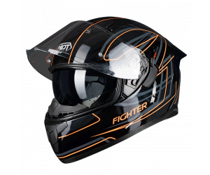 Κράνος Pilot Flipper-Fighter μαύρο/πορτοκαλί gloss